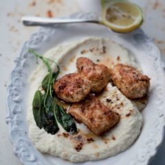 Silky cauliflower puree topped with crisp coconut chicken