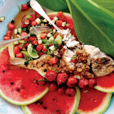 Grilled whole fish with watermelon salsa