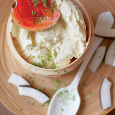 Quick guava ice cream with candied guavas and coconut