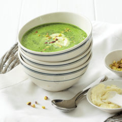 Chilled spinach soup with feta cream and pistachio