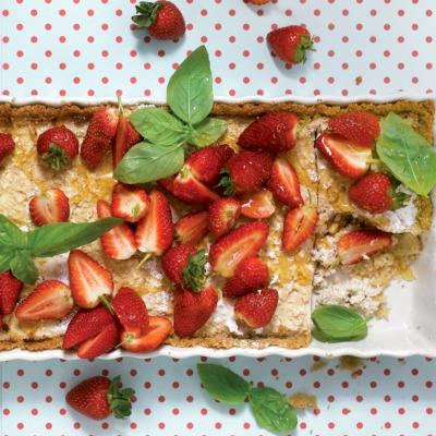 Baked ricotta tart with bulgur wheat crust