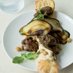Greek lamb kebab, chargrilled brinjal and hummus on crusty bread sticks