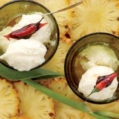 Pineapple, cumin and coconut ice cream with caramelised chilli
