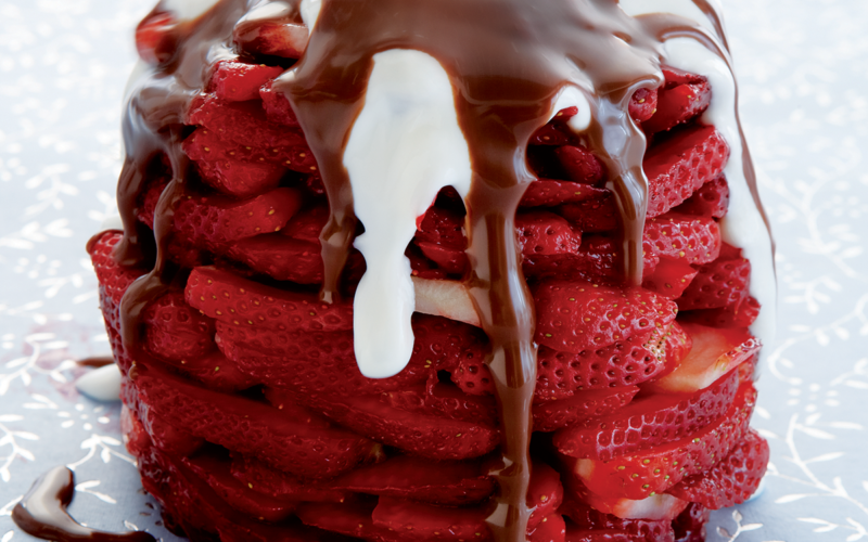 Fresh strawberry turkish delight with melting chocolate and yoghurt recipe