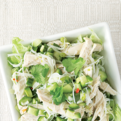 Thai cucumber pickle, chicken and rice noodle salad