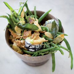 Green bean and chabis goat's-milk cheese salad with lime zest