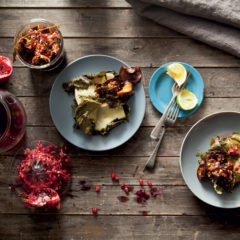Sticky brinjal jam with halloumi and crispy vine leaves