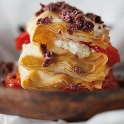 Goat's cheese phyllo stack with crushed olives | Woolworths TASTE