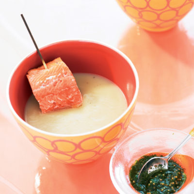 Chilled fennel-and-potato soup with grilled salmon trout and dill pesto