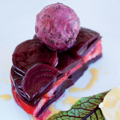 Beetroot and strawberry cake with sage, berry and beetroot sorbet