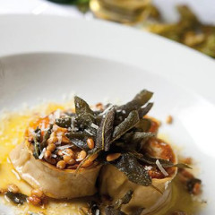 Caramelised butternut and goats' cheese rotolo, crisp sage, pine nuts & Parmesan