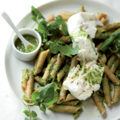 Watercress pesto pasta with fresh buffalo mozzarella