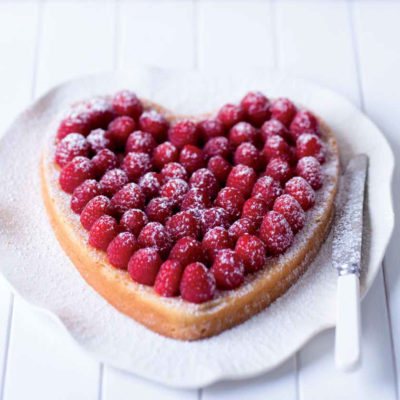 Raspberry, lemon and lime heart cake
