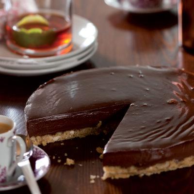 Crushed Amaretti and dark chocolate tart