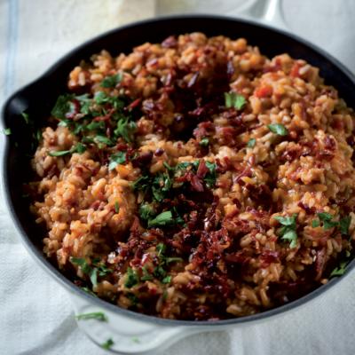 Crispy lardon and spicy tomato risotto