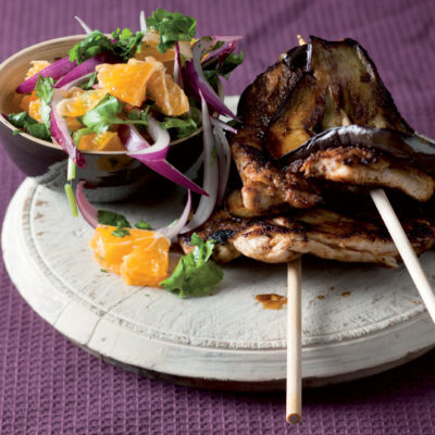 Curry marinated chicken and brinjal kebabs