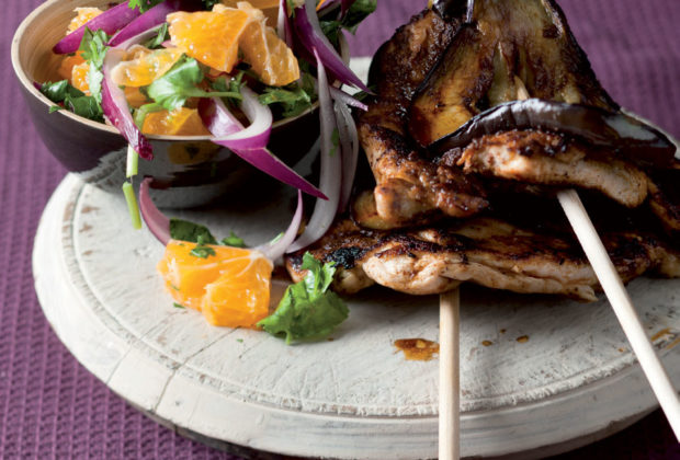 Curry marinated chicken and brinjal kebabs recipe