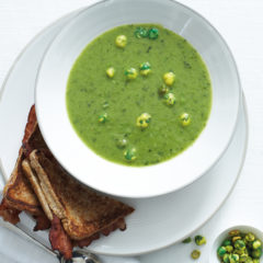 Quick pea soup with wasabi peas and bacon toasts