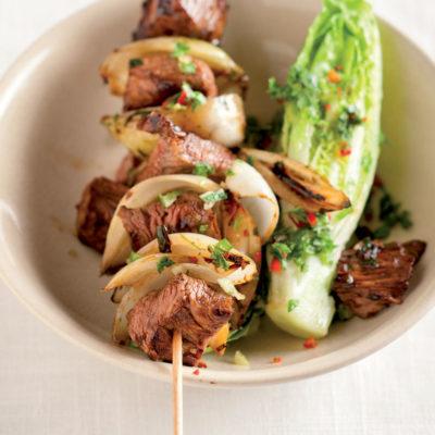 Chilli beef fillet kebabs