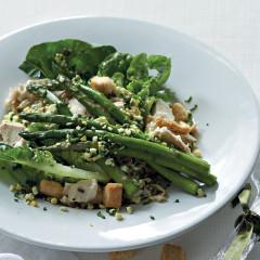 Warm chicken and asparagus salad