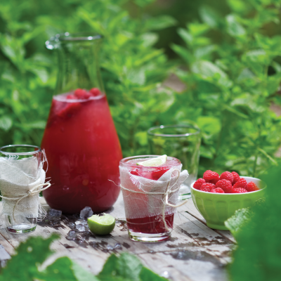 Watermelon, raspberry and mint cooler