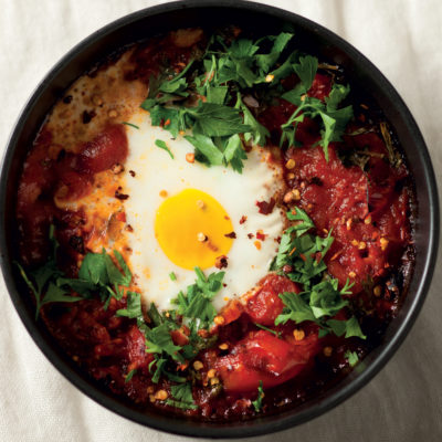 Baked eggs with tomato sauce