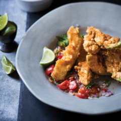 Deep-fried avocado with tomato, ginger and coriander salsa