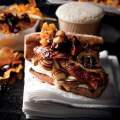Harissa chicken burgers with pineapple relish, aïoli and vegetable crisps