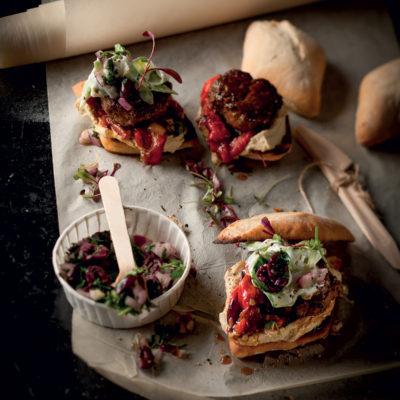 Mini lamb burgers with roast peppers