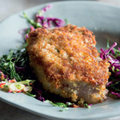 Crumbed pork loin chops with kimchi