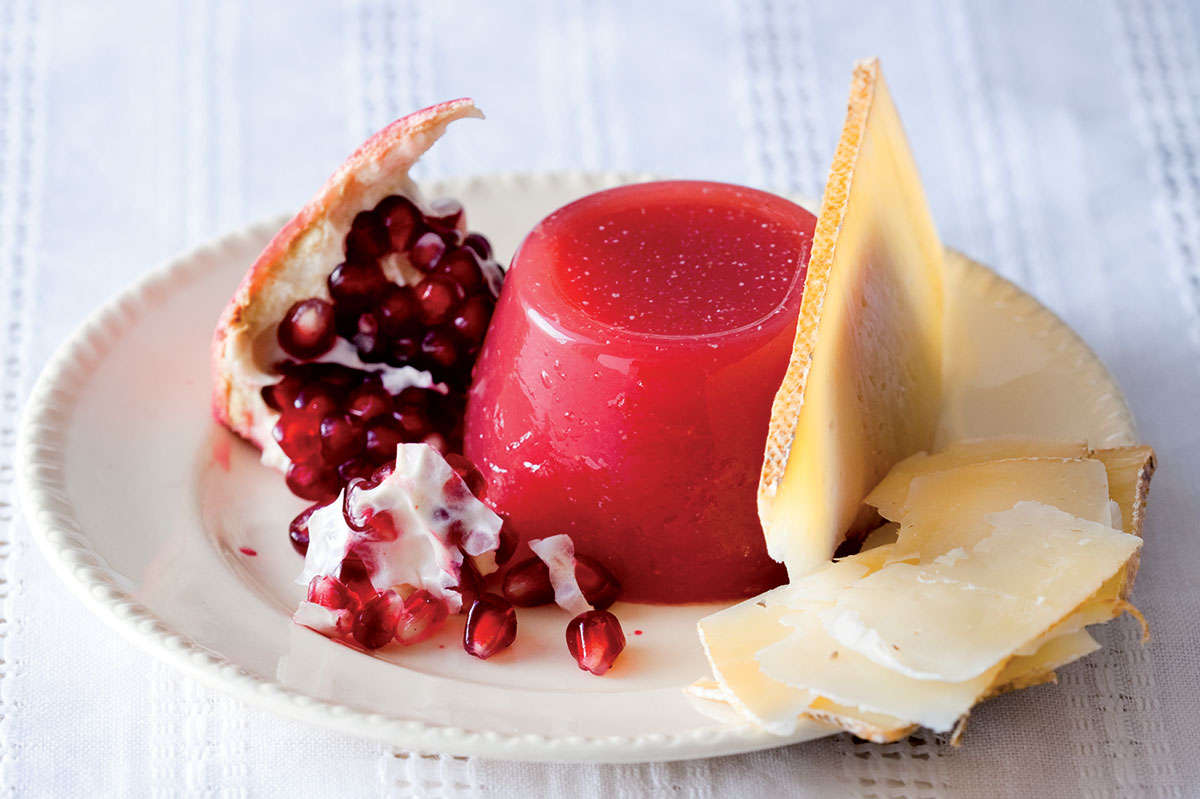 Gruyere with watermelon and pomegranate jelly recipe