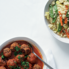 Moroccan-spiced lamb patties with vegetable couscous