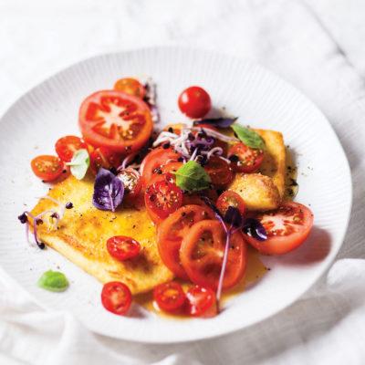 Pan-fried halloumi and honeyed tomato salad