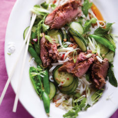 Asian-style fillet roast on rice noodles
