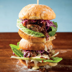 Beef burger with cabbage slaw and monkeygland sauce