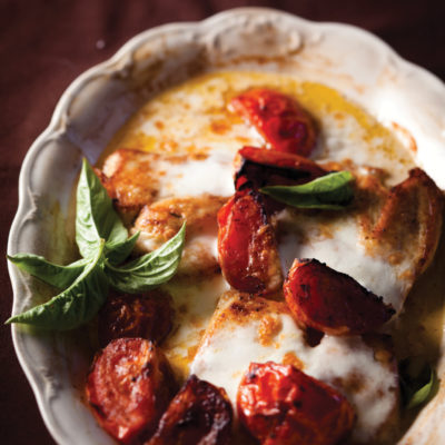 Chicken escalope with slow-roasted tomatoes