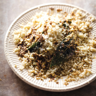Cauliflower couscous with mustard butter