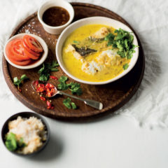Coconut curry hake with lentil-rice