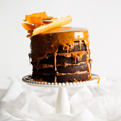 Milk stout-and-chocolate cake with butterscotch sauce, caramel chocolate shards and dark chocolate icing