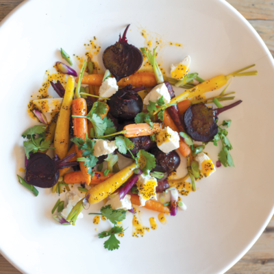Baby beetroot and carrot salad with ClemenGold-and-poppy seed dressing