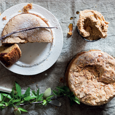 Almond, Clemengold and olive oil cake with almond-and vanilla butter