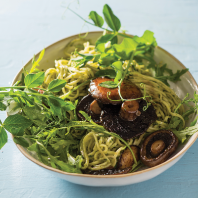 Tarragon-infused brown mushroom pasta