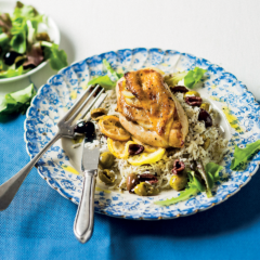 Lemon-grilled chicken with olive rice