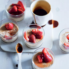 Coffee panna cotta with strawberries and Kahlua