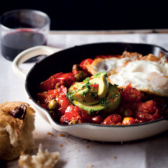 Baked tomato relish with crispy fried eggs