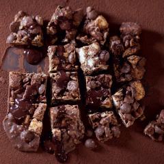 Chocolate and coconut marshmallow nutty fridge cake