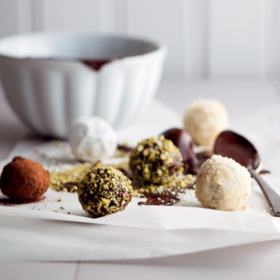 Coffee-and-nut truffles