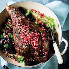 Harissa-roasted lamb with pomegranate and minted beetroot