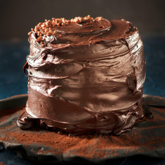 Moist chocolate cake with coconut ganache and white chocolate cream-cheese filling