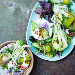 Chunky salad with granadilla salsa